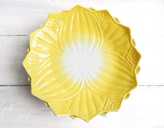Vintage Fire King Lotus Blossom Leaf Plate - Yellow on Milk Glass