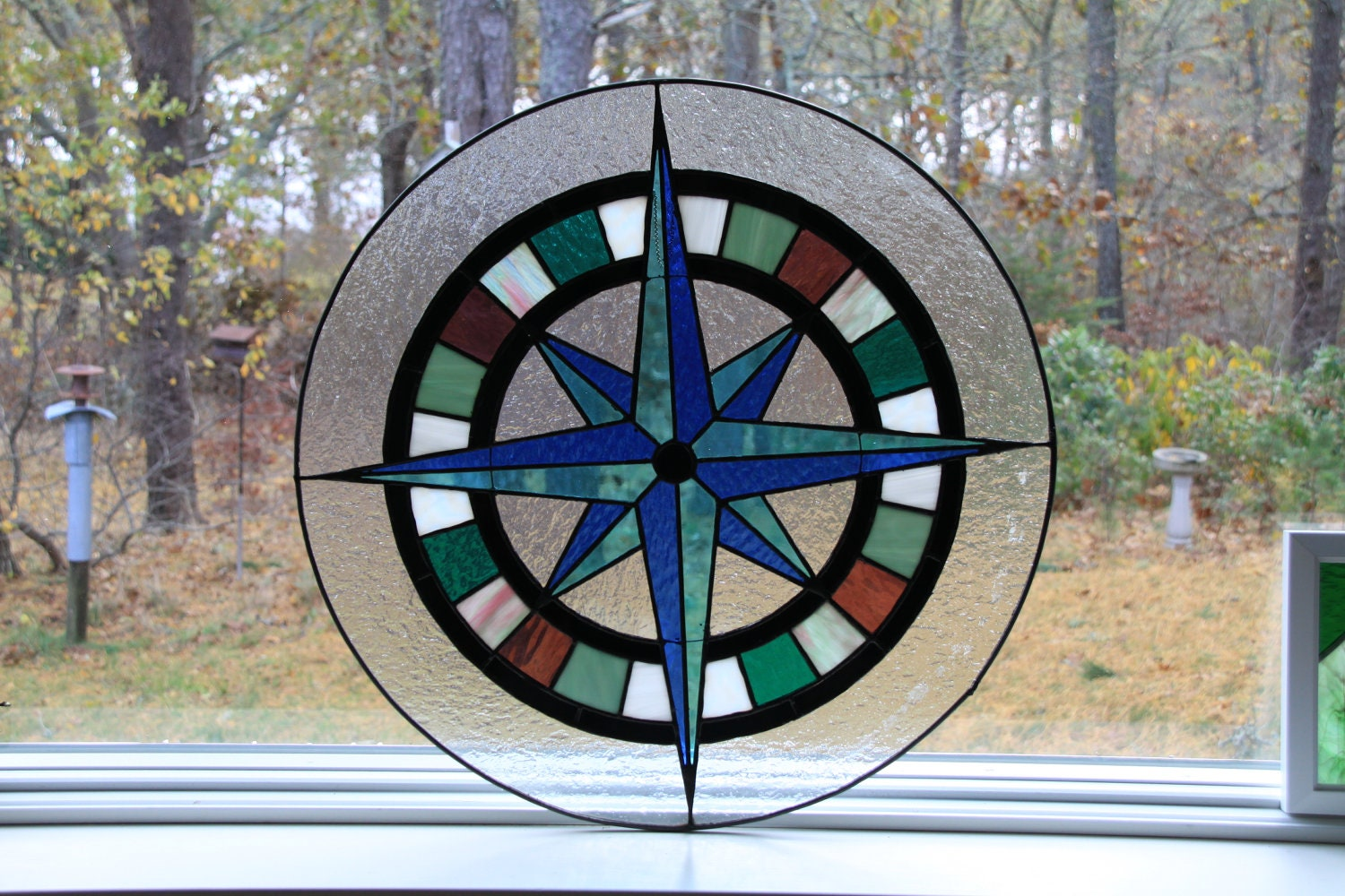 Glass Compass Rose Patterns : Stained glass compass rose by tobiaswoodandglass on etsy