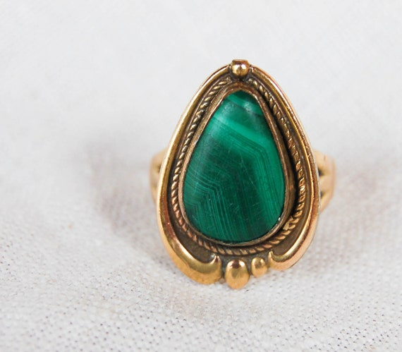 Vintage Native American Ring Malachite 12 Carat Gold Filled Bell Silver