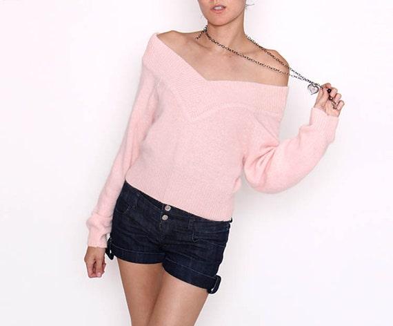 Vintage 80s Light Pink Long Sleeve Sweater