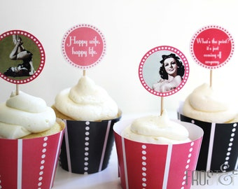 Printable digital file Vintage-style lingerie shower cupcake toppers and wrappers