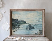The Rocky Coast, Vintage Framed Oil Painting