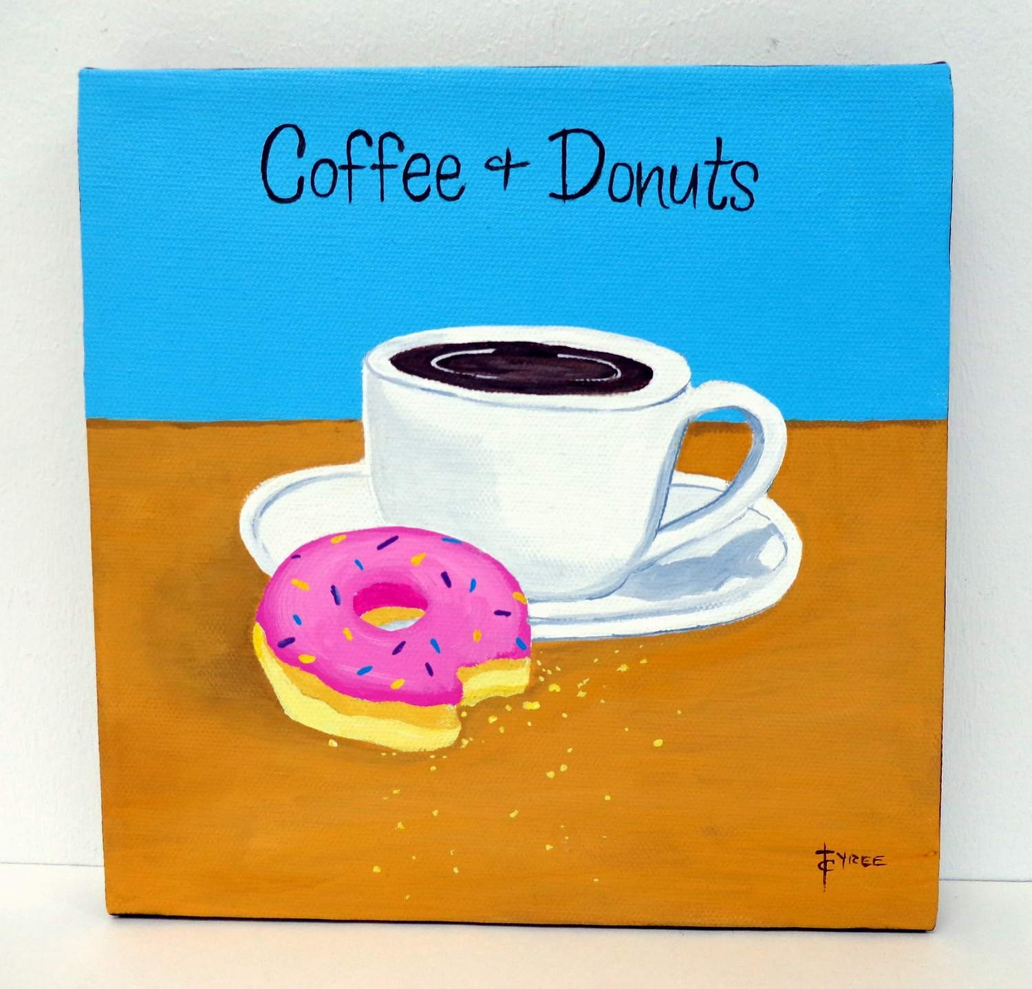 Coffee and Donuts Painting Original pink donut by carlasdiner