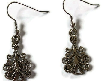 Christmas Tree Earrings - Silver Earrings