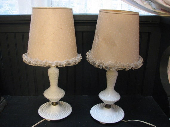 Pair Bedroom Lamps Mid Century Dotted Swiss By Thelongacreflea