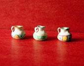 Jugs, Set of 3 tiny pots, Miniature pots