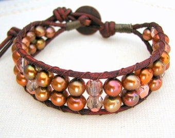 Beaded Leather Cuff with Red Brown Leather, Freshwater Pearls and Bronze Glass Beads