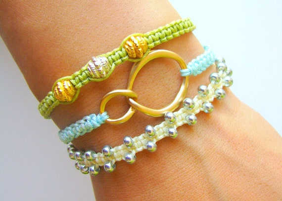 Stacking Bracelet Set with Gold Metal Connector and Gold Silver Zinc Beads - Three Macrame Bracelets