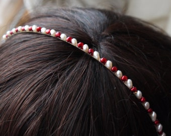 red and ivory pearl headband - cherry red nugget pearl and ivory white rice pearl silver alice band for bridesmaid or flowergirl