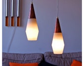 Danish lamps. Mad men inspired. Copper, white plastic and teak hanging lamps, set of 2. 1920s