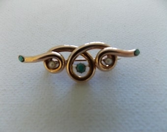Victorian Rose Gold Seed Pearl Turquoise Brooch - BEAUTIFUL