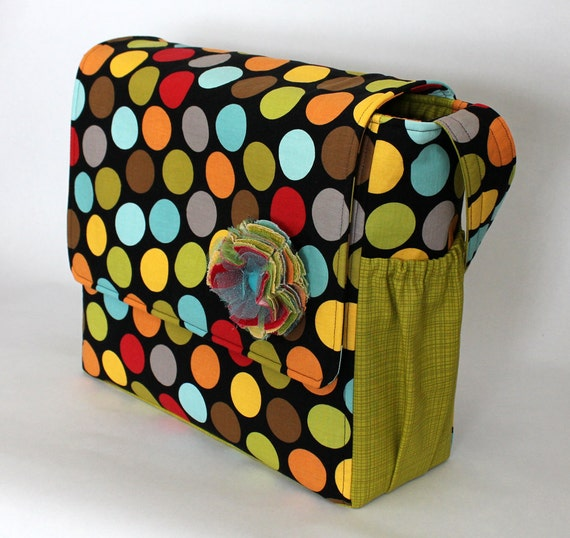 Messenger Style Diaper Bag - LARGE SIZE - Multi Colored Dot - Monogramming Available - Ready to Ship