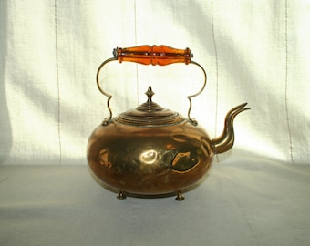 Brass Teapot with Amber Glass Handle