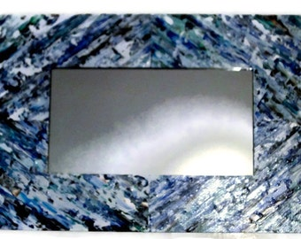 SALE Blue and White Vanity Mirror, Shabby Chic Hand Painted, Wall Mirror, Rectangle Mirror, Blue Hanging Mirror, Narrow Mirror, Long Mirror,