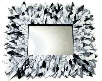 White Mirror, Black and White Mirror, Hanging Mirror, Wall Mirror, Entryway Mirror, Leather Mirror, Black and White Decor, Modern Mirror