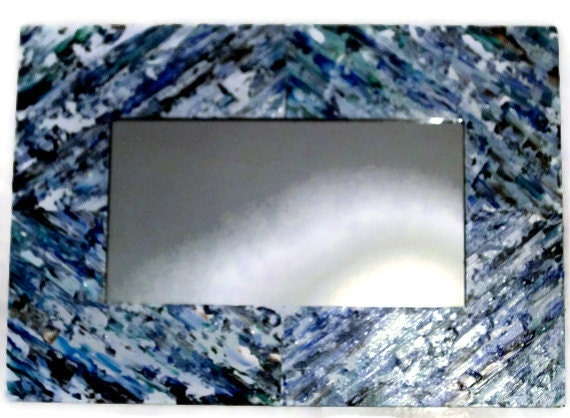 Items similar to sale blue and white vanity mirror shabby for Long wall hanging mirrors