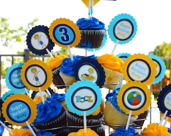 Pool Themed Cupcake Toppers