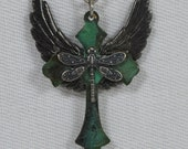 Steampunk Victorian Angel Wings with rich Dark Patina Cross Pendent Necklace, Dragonfly and Silver Bee