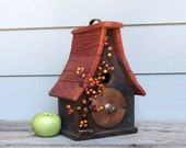Primitive Birdhouse, Rustic Wood Birdhouse, Copper Trim, Orange Berries, Decorative Birdhouse, Outdoor Birdhouse, Reclaimed Materials