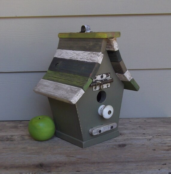 Shabby Chic Birdhouse, Primitive Green Birdhouse, Recycled Hardware, Reclaimed Wood, Rustic Birdhouse, Avocado, Lime, Green, One of a Kind