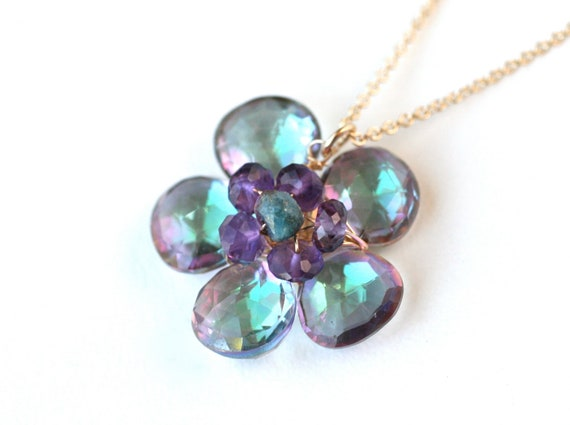 Clearance Flower Necklace Mystic Quartz and Amethyst 14k Gold Filled - Rainbow, Colorful, Affordable elegant fashion