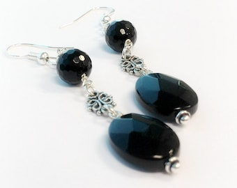 Black Earrings - Onyx Gemstone Jewellery - Sterling Silver Jewelry - Dangle - Filigree - Fashion Unique ER-163