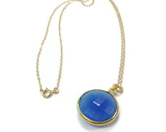 Blue Necklace - Yellow Gold Jewelry - Chalcedony Gemstone Jewellery - Modern - Drop - Pendant - Cobalt Blue - Chain N-308 309 310