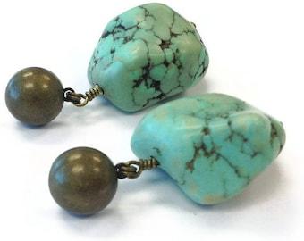 Turquoise Earrings - Southwestern Brass Jewelry - Modern Tribal Summer Fashion Jewellery - Chunky Gemstone ER-176 177 178