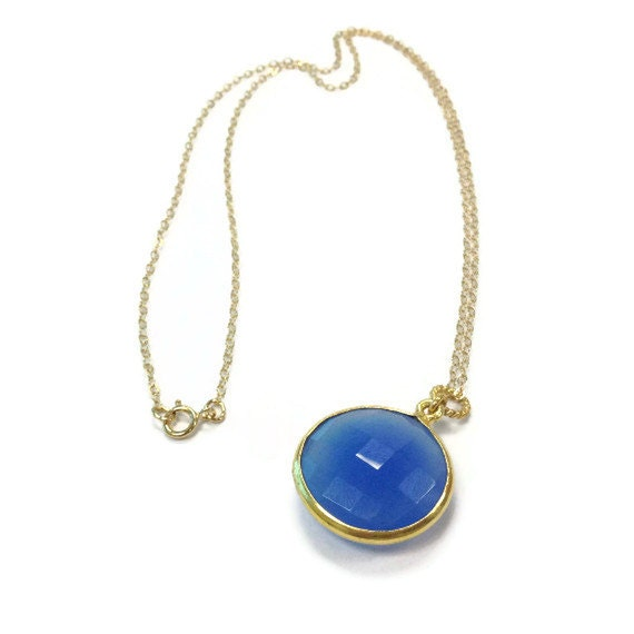 Blue Necklace - Yellow Gold Jewelry - Chalcedony Gemstone Jewellery - Modern - Drop - Pendant - Cobalt Blue - Chain N-308 309 310