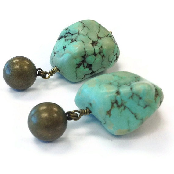 Turquoise Earrings - Southwestern Brass Jewelry - Modern Tribal Summer Fashion Jewellery - Chunky Gemstone ER-176 177 178