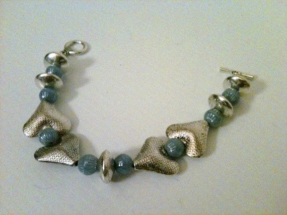 Blue Bracelet - Mother Daughter Silver Jewelry - Sky Blue Jewellery - Heart - Valentine - Beaded Fashion Unique Everyday Love