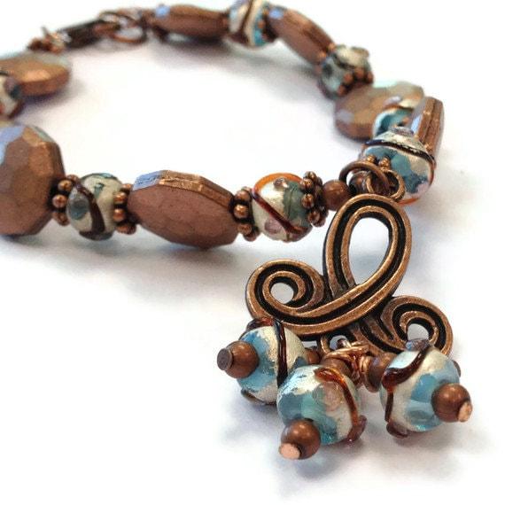 copper bracelet trefoil charm jewelry lwork glass bead