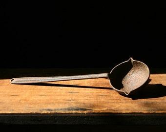 Vintage cast iron ladle, smelting ladle, industrial ladle