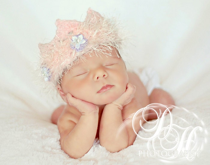 Baby Crown Baby Girl Photo Prop Crochet Headband by BabyGraceHats