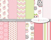 Owl Digital Scrapbook Paper  -  Leona Pink&Lime  -- 8.5x11 and 12x12  -  INSTANT DOWNLOAD
