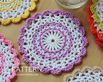 Crochet Pattern - Sweet Crochet Coasters (Pattern No. 032) - INSTANT DIGITAL DOWNLOAD