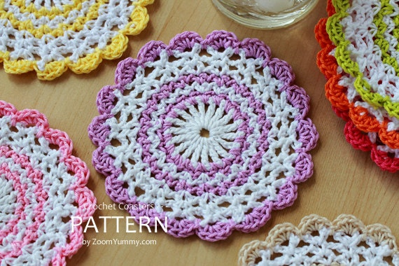 Crochet Patterns Coasters : Crochet Pattern - Sweet Crochet Coasters (Pattern No. 032) - INSTANT ...