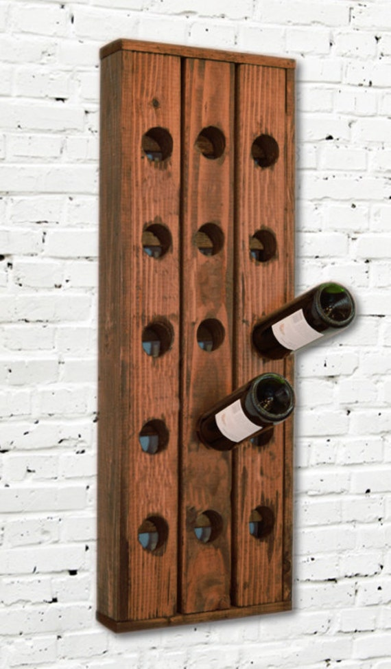 Wine rack reclaimed look wood wall hanging with trim walnut Hanging wooden wine rack