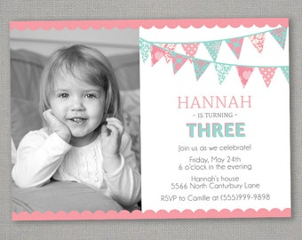 Bunting Birthday Invitation