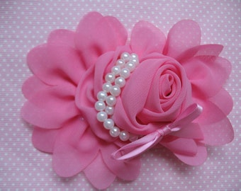 1pcs Chiffon Rose Flower Pearls Bow Headband-Rose Pink CH001-1