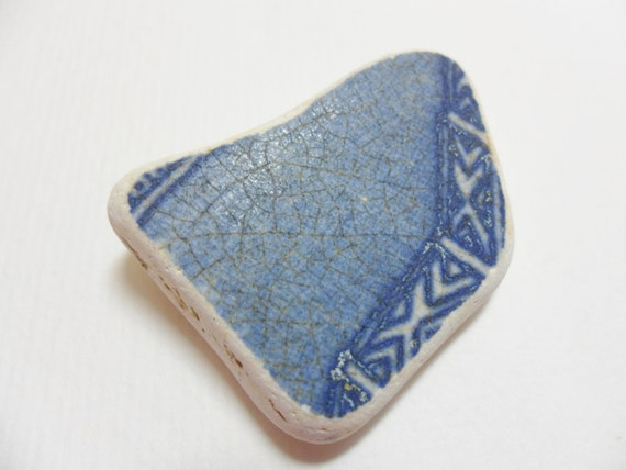 Dark blue Art deco style sea pottery shard - smooth edges - beach find from England