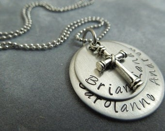 Personalized mothers necklace, hand stamped stalinless steel with charm