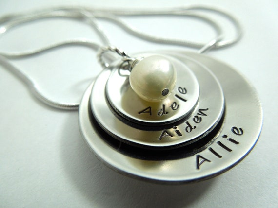 Mothers necklace ,3 disc hand stamped and domed stainless steel