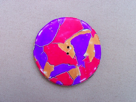 Round Polymer Clay Button, 2 inch, torn paper, red purple gold