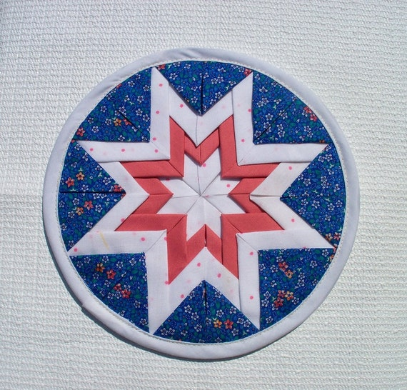Quilted Hot Pad, Eight Pointed Star, royal blue, mauve