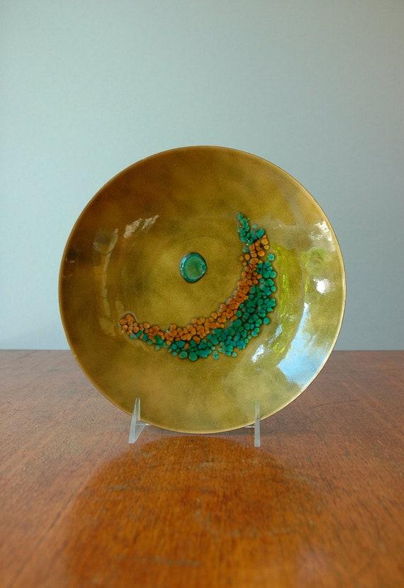 Mid Century Decorative Enamel Bowl - Chartreuse / Teal / Gold