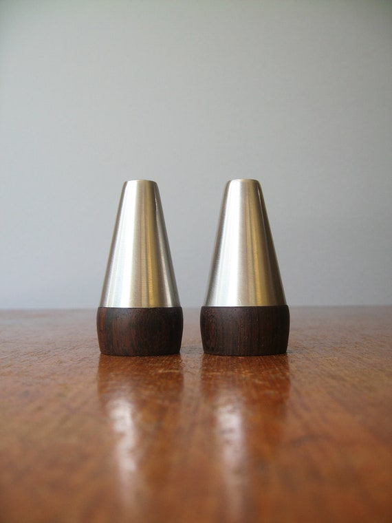 Danish Modern Stainless / Wood Salt and Pepper Shakers