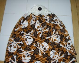 Skull Halloween Crocheted Top Hanging Dish Towel (Double)