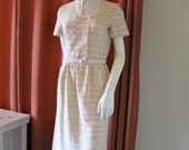 RESERVED Vintage 1960s Courreges Cotton Creme and Beige Hombre Plaid Double Breasted Day Dress Size A