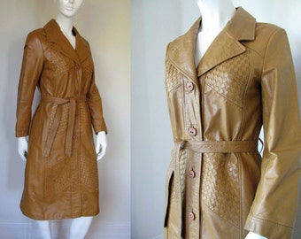 Vintage 1960s 1970s Wilsons Leather Trench Coat Caramel Color with Woven Inserts S/M